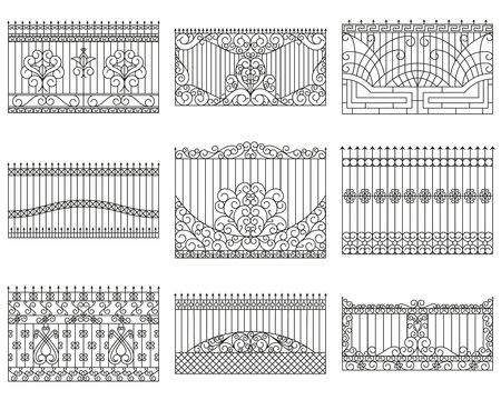 Forged fences set. Linear design. Vector outline illustration isolated on white Illustration