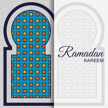 greeting card background: Ramadan Kareem Background. Islamic Arabic window. Greeting card. Vector illustration.