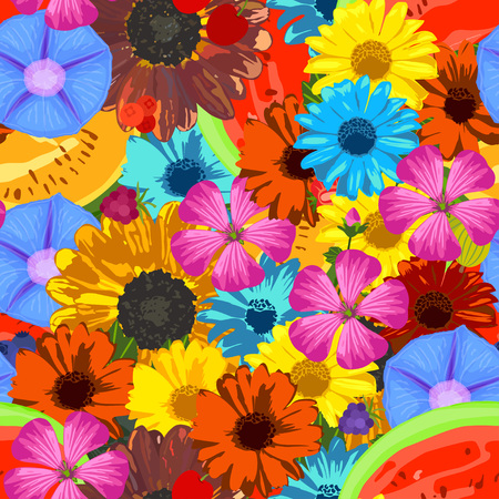 ipomoea: Seamless background with flowers and fruits. Vector illustration.