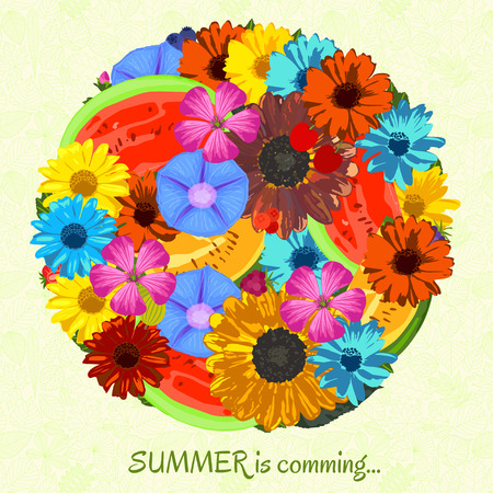 ipomoea: Summer is coming background with flowers and fruits. Trendy Design Template. Vector illustration.