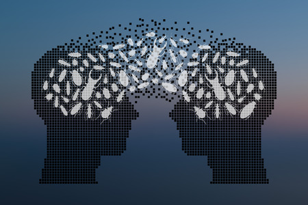 strangeness: Beetles in human head. Exchange of opinions concept. Vector illustration.