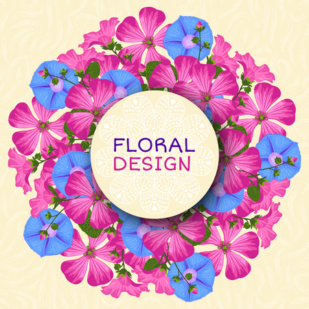 ipomoea: Summer background with flowers. Trendy Design Template. Vector illustration.
