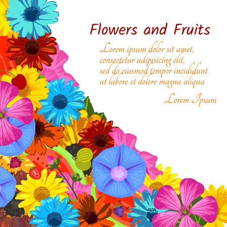 ipomoea: Floral background with flowers and fruits. Trendy Design Template. Vector illustration.