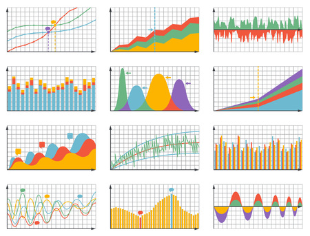 charts and graphs: Set of detailed business graphs and charts. Vector illustration.