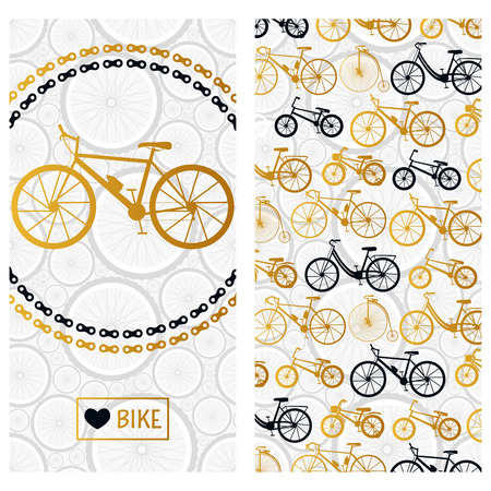 farting: Invitation card with bike in the chain wreath and six kinds of bicycles. Vector background.