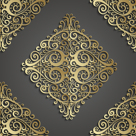 highlight: Damask seamless pattern. 3D element with shadow and highlight. Vector illustration.
