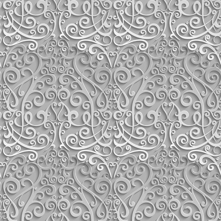 Damask seamless pattern. 3D element with shadow and highlight. Vector illustration.