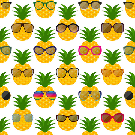 range fruit: Sunglasses and pineapples seamless pattern. Vector illustration