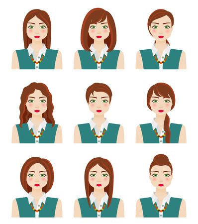 green eyes: Attractive young girl with different hairstyles. Brown hair, green eyes and freckles. Autumn woman. Vector illustration. Illustration