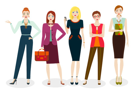 Attractive business women in elegant office clothes and different poses. Vector illustration
