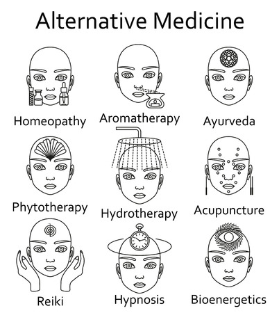 Alternative Medicine icons set. Vector illustration.