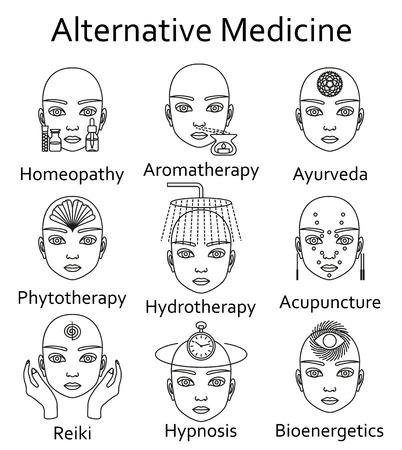 Icônes Alternative Medicine définies. Vector illustration. Banque d'images - 60726695