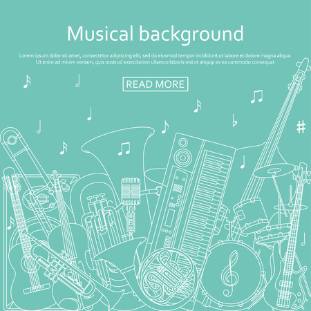 Musical background made of different musical instruments, treble clef and notes. Blue and white colors. Vector illustration.