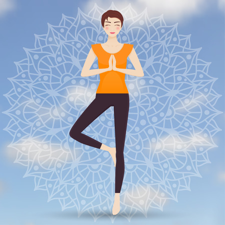 Attractive young girl practicing tree yoga pose. Chakra pictograms at the back. Vector illustration. Illustration
