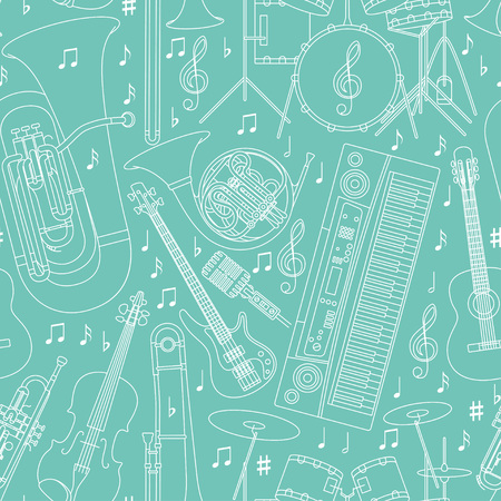 Seamless musical background made of different musical instruments, treble clef and notes. Blue and white colors. Vector illustration.