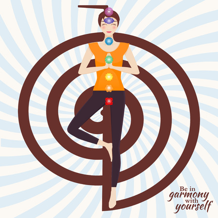 Attractive young girl practicing tree yoga pose. Chakra pictograms on choku rei symbol at the back. Vector illustration. Illustration