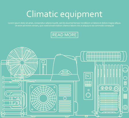 Climatic equipment concept made of outlined icons. Vector illustration. Çizim