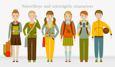 School kids group. Boys and girls. Vector illustration.