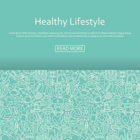 is outlined: Healthy lifestyle background made of outlined icons. Vector illustration.