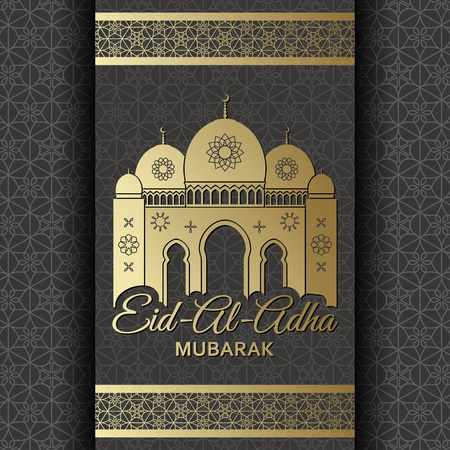 Eid Al Adha Background. Mosque and Islamic Arabic window. Greeting card. Vector illustration.