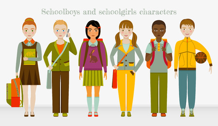 casual dress: School kids group. Boys and girls. Vector illustration.