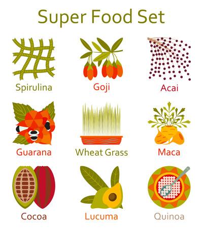 Super food icons set. Vector illustration. Illustration