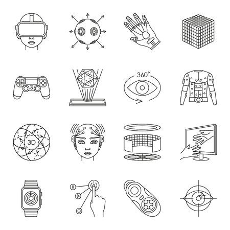 interactivity: Virtual reality and gadgets icons set. Vector illustration.