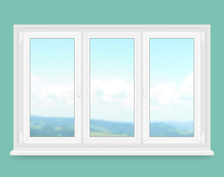 window view: Realistic white plastic window with landscape view. Vector illustration.