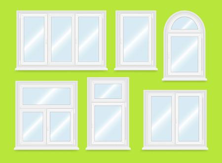 sill: Realistic white plastic windows set. Vector illustration.