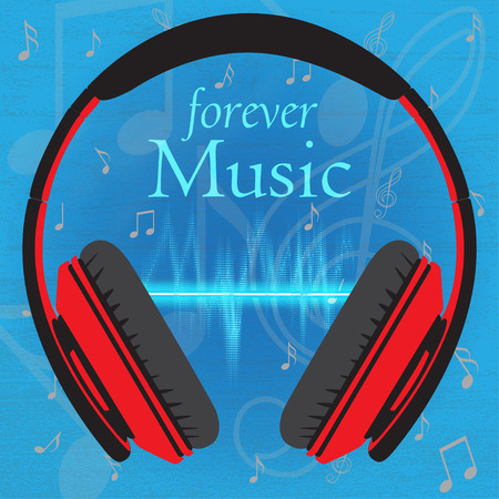 beats: Musical background with headphone, text and beats, vector illustration