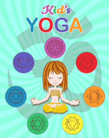 Little girl sitting in a yoga position, Chakra pictograms on choku rei symbol, vector illustration Illustration
