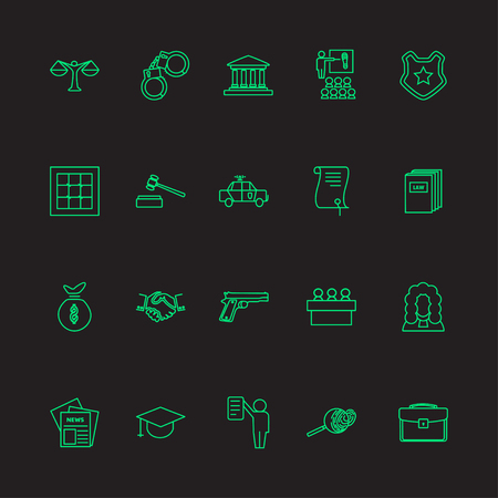 legal system: Set of law and justice linear icons, neon light. The legal system, judge, police and lawyer vector illustration