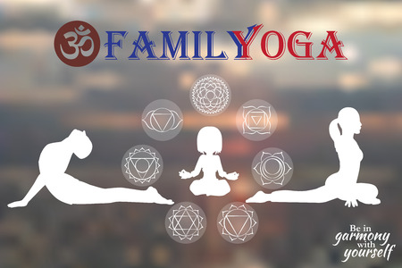 Family Yoga people training and meditating in warrior pose outside by beach at sunrise or sunset. Kid, woman and man yoga exercising training in ocean landscape. Silhouette family against sun. Chakra pictograms on choku rei symbol