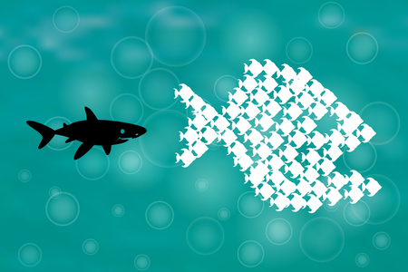 big fish: Big Fish Eat Little Fish. Unity, Teamwork, Organize Concept. Fishes unite fight with big fish. vector illustration. sharks