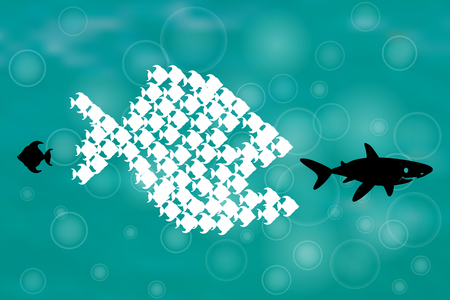joining forces: Little Fish Eat Big Fish. Unity, Teamwork, Organize Concept. Together we stand, Fishes unite fight with big fish. vector illustration. Sharks, think different design.