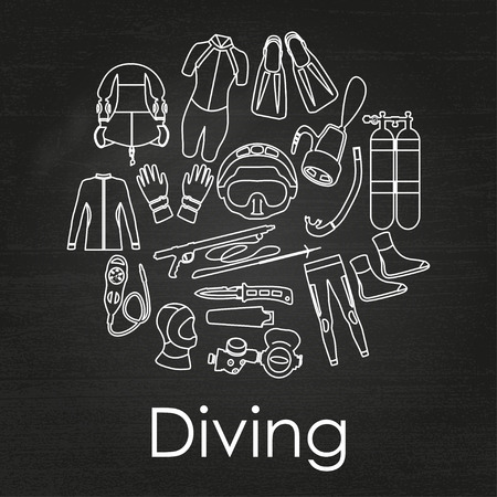 depth gauge: Scuba diving linear equipment on chalkboard background. Sport underwater, water sea, glove and flashlight, Jacket, pants, suit, socks, regulators, octopus, mask and snorkel. Vector illustration Illustration