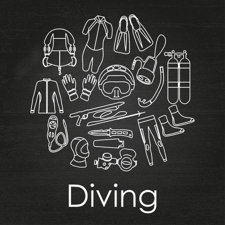depth gauge: Scuba diving linear equipment on chalkboard background. Sport underwater, water sea, glove and flashlight, Jacket, pants, suit, socks, regulators, octopus, mask and snorkel. Vector illustration Illustration