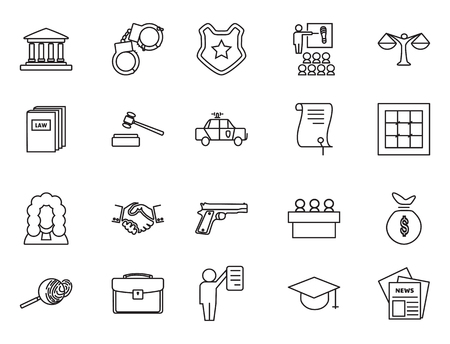 barrister: Set of black and white law and justice linear icons, The legal system, judge, police and lawyer vector illustration