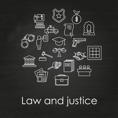 legal system: Set of black and white law and justice linear icons on chalkboard background, The legal system, judge, police and lawyer, vector illustration