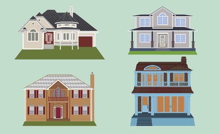 nice house: Town house cottage and assorted real estate building icons flat set isolated vector illustration