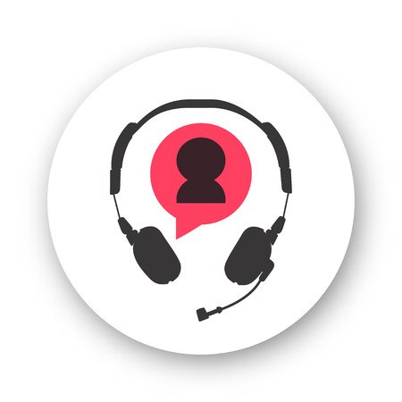 phoning: Customer support helpdesk logo symbol, assistant operator phoning badge, hotline communication emblem, abstract headphones, bubble speech, agent user talking, flat icon modern design sign isolated