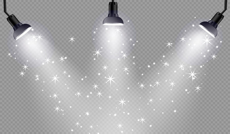 Vector transparent sunlight special lens flare light effect. Spotlights with bright lights and stars on checkered background. Ilustração
