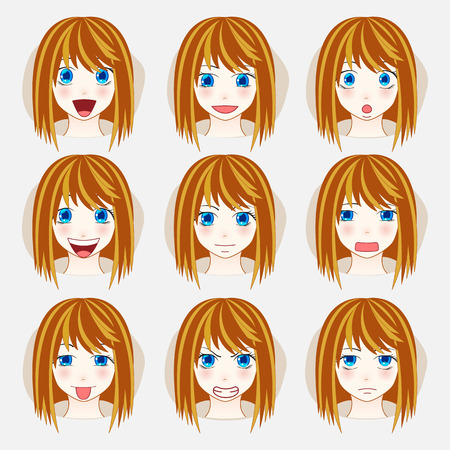 expressing positivity: Set of beauty woman avatar expressions face emotions vector illustration.