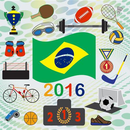 simbols: Rio games, set of national and sport simbols