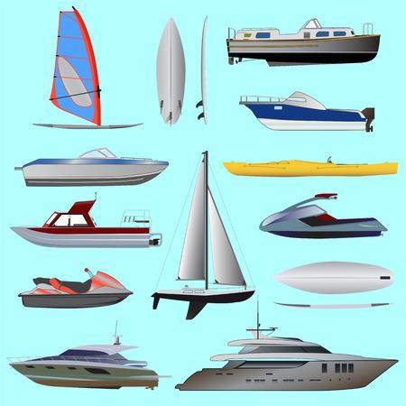 Set of boat. Sailing and motor boats, yacht, jet ski, boat, motor boat, cruise ship, windsurfing. Vector illustrations isolated on white background.