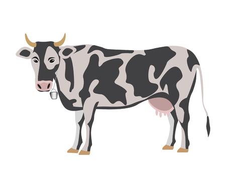 Milk cow on white background, vector illustration Illustration