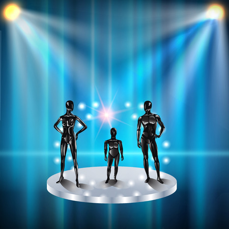 Set of models on a podium with spotlights. Fashion clothing store mannequins, silhouette of man, girl, baby, teenager, pregnant woman