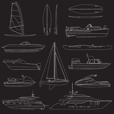 motor boat: Set of linear boat. Sailing and motor boats, yacht, jet ski, boat, motor boat, cruise ship, windsurfing. Vector illustrations isolated on white background.