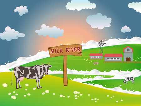 vacas lecheras: Dairy cows in a field near a farm on a background of the morning sun, milky river flowing through fields, Vector cows. Vectores