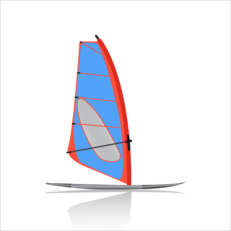 windsurf: Board Windsurfing icon, Water sport and entertainment. Swimming and windsurfing isolated on white background. vector illustration